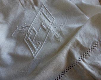 Vintage French  Metis Linen Sheet, Monogrammed P.J