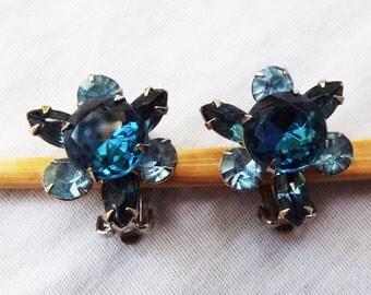 Vintage Shades of Blue Rhinestone Sunburst Earrings