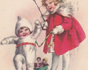 "Ca. 1921 ""Girl in Red w/ Baby"" Christmas Greetings Postcard - 454"