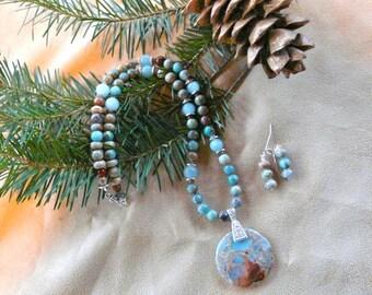 22 Inch Aqua Terra Jasper Necklace with Earrings