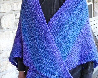 Hand-Knitted Blue and Violet Acrylic Yarn Triangle Shawl