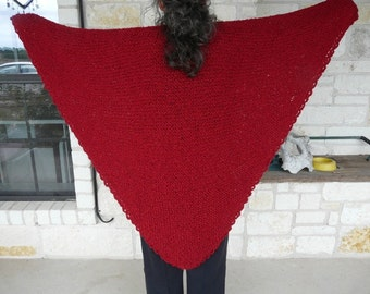 Deep Red Acrylic Hand Knitted Triangle Shawl