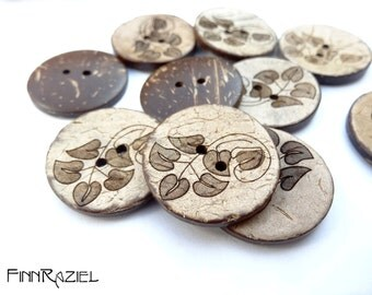 4 real coconut buttons ø28mm with leafs