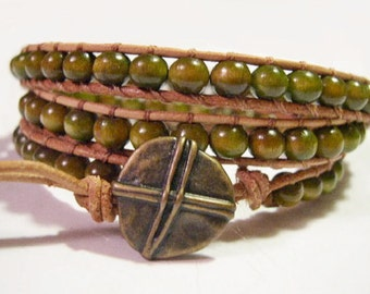 Wrap bracelet, Boho wrap bracelet, Beaded Leather wrap bracelet, Wooden Beads, Beaded Bracelet - 751