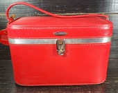 Vintage traincase, Red Luggage, Featherlite suitcase, Photograpy props