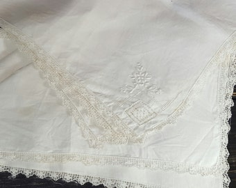 White Linen table cloths, Linen Dollies, White Lace linen, French Linen