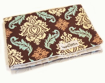 Crate Mat, Brown Damask, CUSTOM, Small 23 by 16 Mat, Slip-proof Waterproof Base, Gift Ready, Dog, Cat, Couture, Travel, Washable