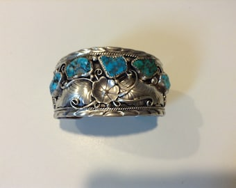 Vintage large sterling silver and turquoise Native American Southwestern ornate unique heavy cuff bracelet