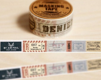 DIY Removable Adhesive Masking Deco Washi Tape - Airmail Stamp Chop  (2 cm Width)