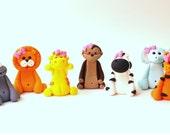 Set of 7 Safari Girl Animals - Safari Jungle Animals fondant set - Fondant Animals Fondant Safari Animals Fondant Jungle - Girl Animals
