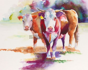 Hereford cow print form original cow painting cattle decor cattle art farmhouse decor ranch decor western decor southwest decor animal art