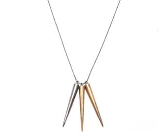 triple cone necklace // bronze and silver with oxidized chain