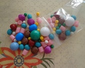 Lot of Vintage, New Old Stock, Mixed Color, Shape and Size Lucite Beads, 3 oz.