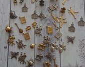 Lot of Vintage, New Old Stock Brass Charms, Antique Silver and Gold Tone, Mixed Theme, 46 Pieces