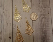 Vintage Light Weight Gold Tone Filigree Drops/Dangles w/ Top Loop (4)