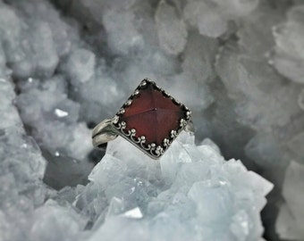 Garnet Silver Pyramid Ring - Adjustable