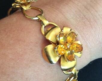 Citrine Glass Flower Bracelet, Coro 1940s Vintage Jewelry, SUMMER SALE
