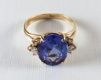 Tanzanite Ring, Diamonds, 14K Gold, Engagement, Wedding, Vintage Jewelry, SUMMER SALE