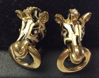 Black White Enamel Earrings, Zebra, Door Knocker, Vintage Jewelry, Gift for Her CHRISTMAS IN JULY Sale