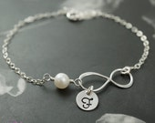 Personalized infinity bracelet, silver bracelet with infinity charm, simple bracelet, pearl jewelry, bridesmaids gift
