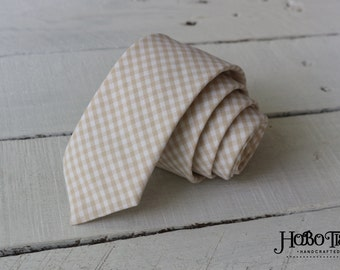 Khaki Gingham Necktie~Anniversary Gift~Wedding Tie~Boys Necktie~Mens Necktie~Wedding~Mens Tie~Boys Tie~Mens Gift~Tan Tie~Khaki Tie