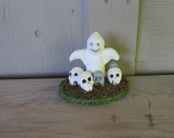 vintage Halloween decoration ghost, skull, headstone,RIP
