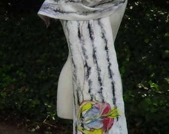 Felted scarf, summer scarf, Organic scarf, Wearable art / Fashion scarf, Large shawl Wool scarf Handmade scarf Nuno felted Lightweight scarf