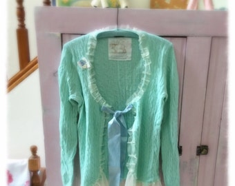 Sweet Mint Green Cashmere Blend Cardigan Sweater Altered JCrew Bohemian Romantic Shabby Chic Womens Medium Long