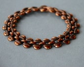 Vintage Solid Copper Link Bracelet Engraved Links Panther Link Layering Southwestern Style Boho 1960's // Vintage Costume Jewelry