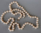 Vintage Knotted Faux Pearl Necklace Opera Length Silver Tone Filigree Clasp Glass Pearl Beads Bridal 1960's // Vintage Costume Jewelry
