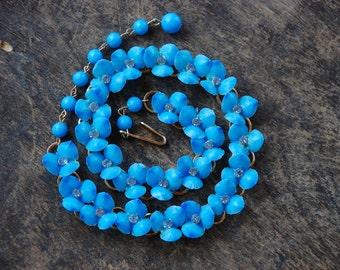 Vintage Blue Plastic Flower Rhinestone Choker Necklace Adjustable Chain Lightweight Feminine 1940's // Vintage Costume Jewelry