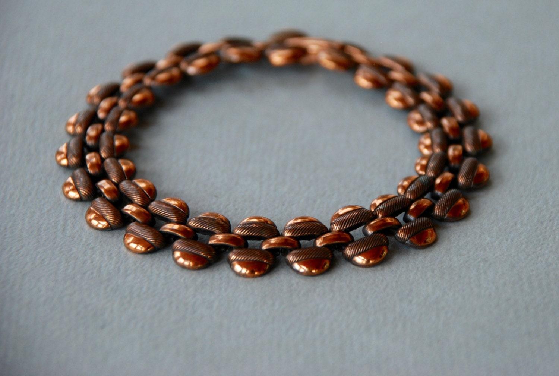 vintage solid copper link bracelet engraved links panther link