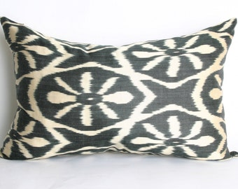 15x24 inch-Luxurious ikat Handmade Pillow,Traditional Ethnic Pillowcase, Modern Silky Decorative Pillow For Couch