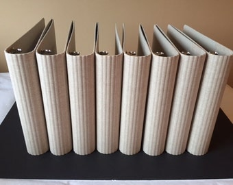 Set of 8 Matching 3 Ring Binders, Round Spine, Eco-friendly, Natural Color
