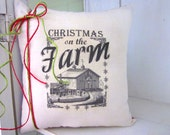 50% CLEARANCE SALE Christmas pillows, holiday decor, farm decor, farm christmas, red pillows, rustic christmas, flannel, red pillows,
