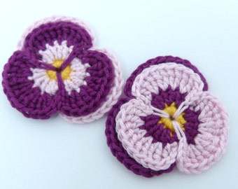 Crochet flowers, crochet appliques, 2 crochet pansies, cardmaking, scrapbooking, appliques, craft embellishments, sewing accessories.