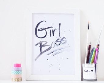 Girl Boss - A4 Art Print - Printable Download File