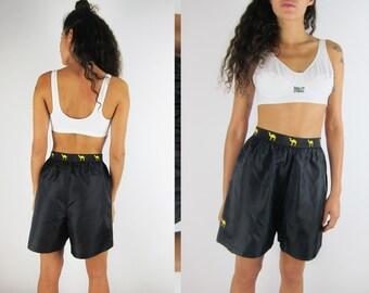 CAMEL Black Nylon Shorts