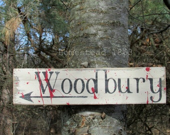 Woodbury Reclaimed Wood Sign, Zombie Sign, Directional Reclaimed Wood Sign, Halloween Sign