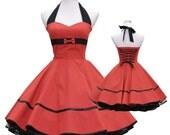 50's vintage dress uni red embellished back Tailor Made after your measurements #0044