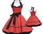 50's vintage dress full skirt red black Corsage Style design custom made Retro