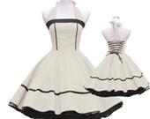 50's vintage dress full skirt black ecru creme classic design design lace back custom made Retro