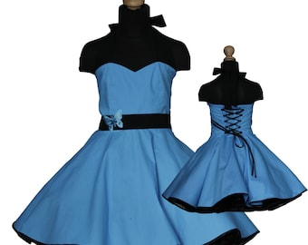 Girls 50's dress for petticoat custom made in turquoise eco friendly cotton with butterfly embroisery