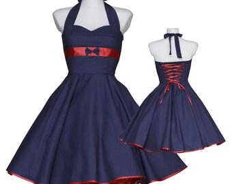 50's vintage dress classic navy blue baby polka dots red embellished back Tailor Made custom