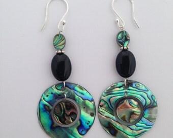 Abalone, Paua Shell, Black Onyx, and Sterling Silver Earrings