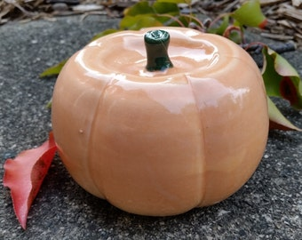 Pumpkin in pale glossy orange Handmade ceramic pumpkin fall decorations