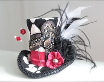 Vintage Inspired Steampunk Tea Party - Mini Top Hat Headband (or fascinator) Perfect Alice in Wonderland Queen of Hearts or Cosplay Costume