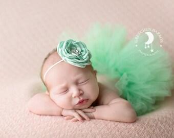 Mint Green Tutu and Matching Couture Flower Headband (SET) - NEWBORN size - Beautiful Newborn Girl Photo Prop and Keepsake