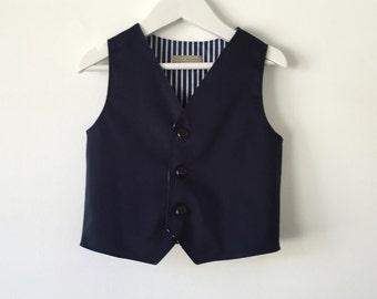 Ring bearer outfit navy blue baby toddler boy vest waistcoat nautical beach wedding