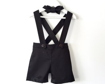 Baby boy suspender shorts black shortalls and bow tie ring bearer outfit
